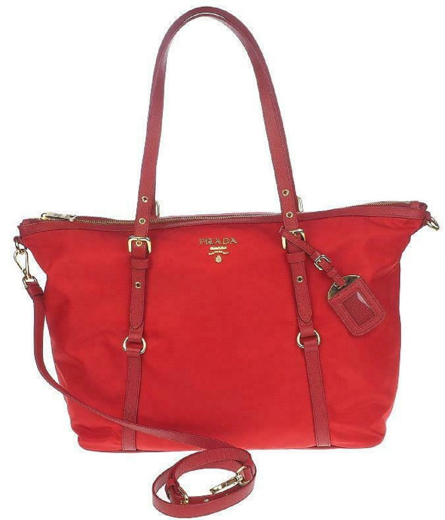Prada Red Tessuto Nylon Saffiano Leather Trim Shopping Tote Bag 1BG253 at_Queen_Bee_of_Beverly_Hills