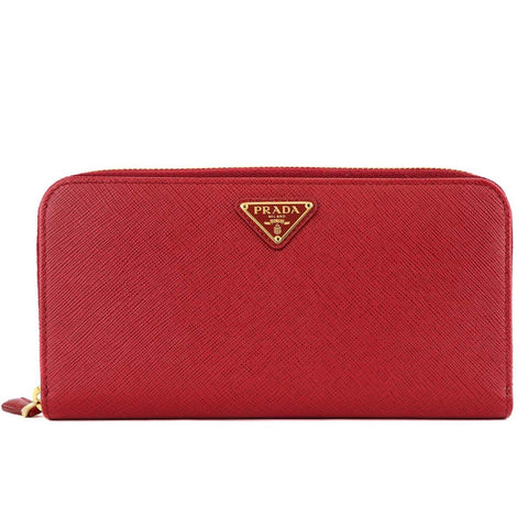 Prada Rosso Red Leather Saffiano Lip Print Zip Wallet 1ML506 at_Queen_Bee_of_Beverly_Hills