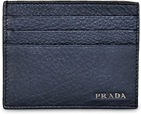 Prada Saffiano Bicolor Leather Card Holder Wallet Black and Blue Silver Logo 2MC223 at_Queen_Bee_of_Beverly_Hills