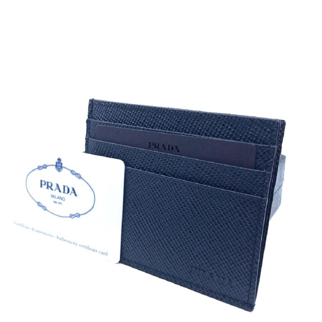 Prada Saffiano Cuir Bluette Blue Leather Card Holder 2MC223 at_Queen_Bee_of_Beverly_Hills
