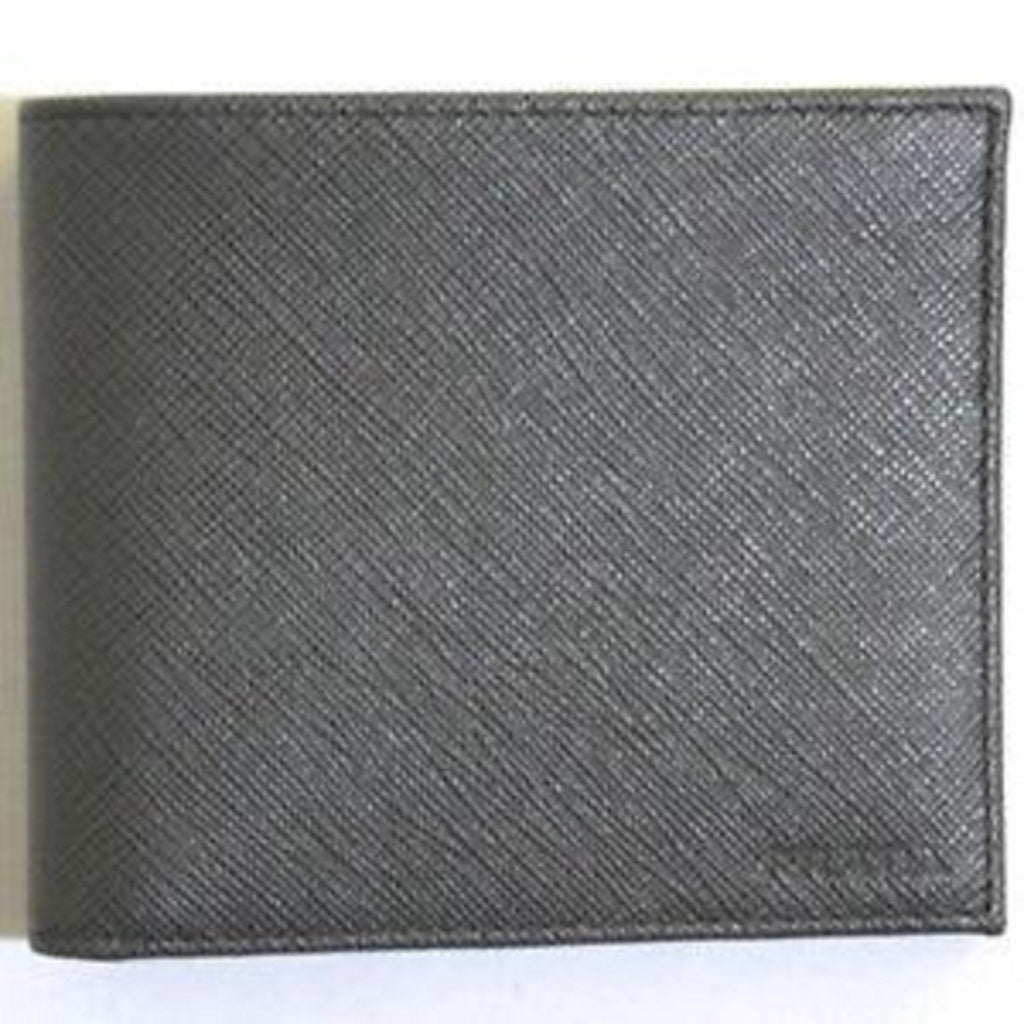 Prada Saffiano Gray Leather Men's Billfold Bi fold Wallet 2MO513 at_Queen_Bee_of_Beverly_Hills