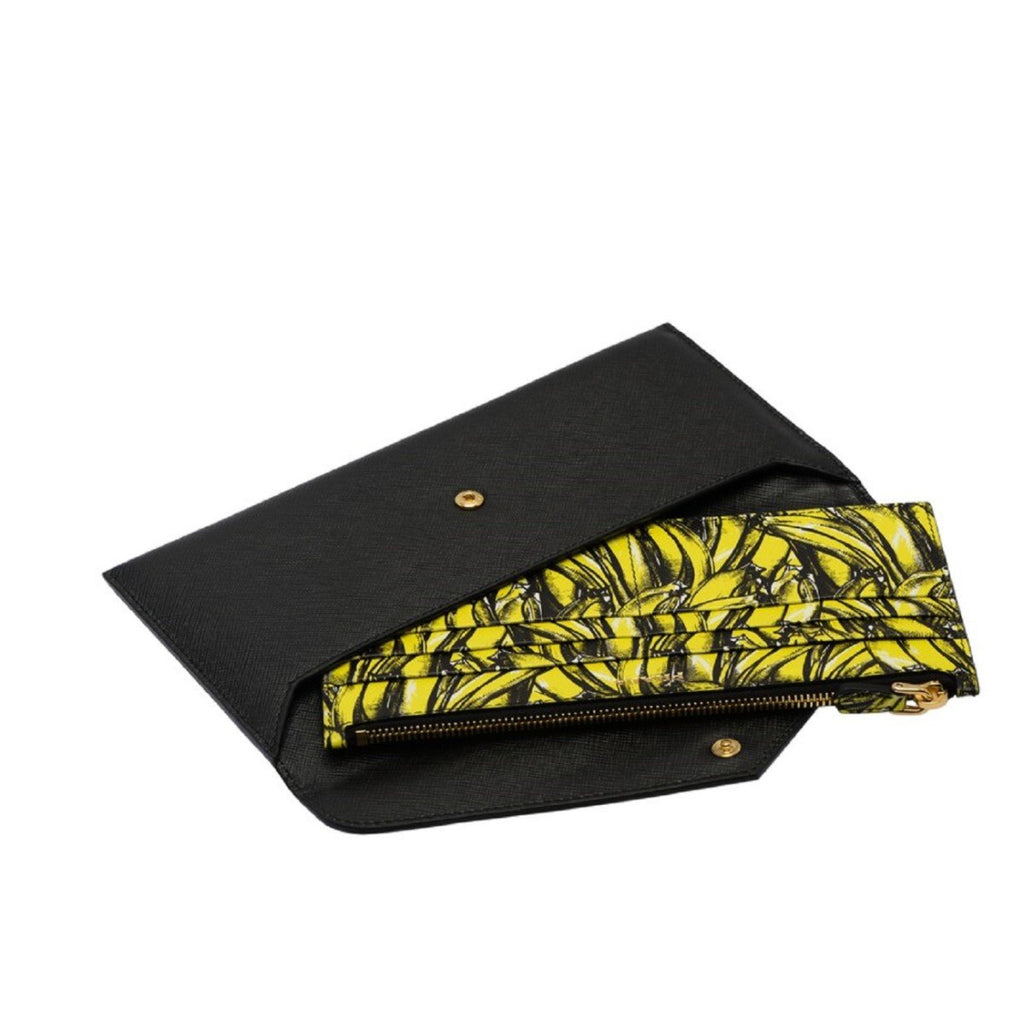 Prada Saffiano Leather Envelope Document Holder Banana Print Pouch 1MF006 at_Queen_Bee_of_Beverly_Hills
