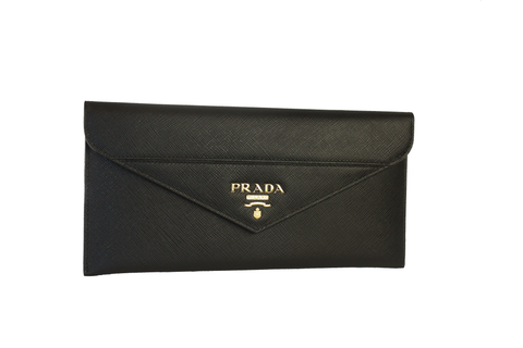 Prada Saffiano Leather Envelope Document Holder black Pouch 1MF006 at_Queen_Bee_of_Beverly_Hills