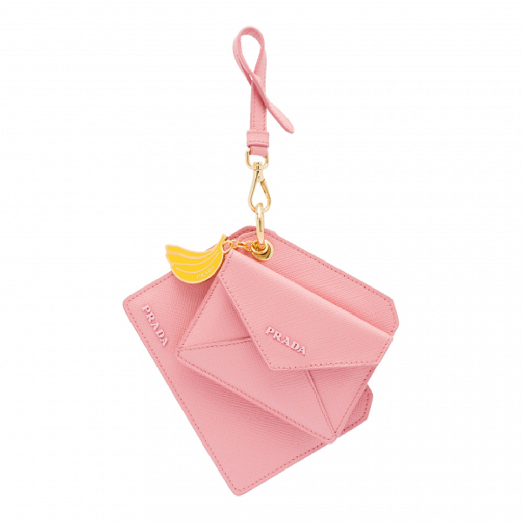 Prada Saffiano Lux Banana Charm Pink Keychain Wallet Card Case 1TL360 at_Queen_Bee_of_Beverly_Hills