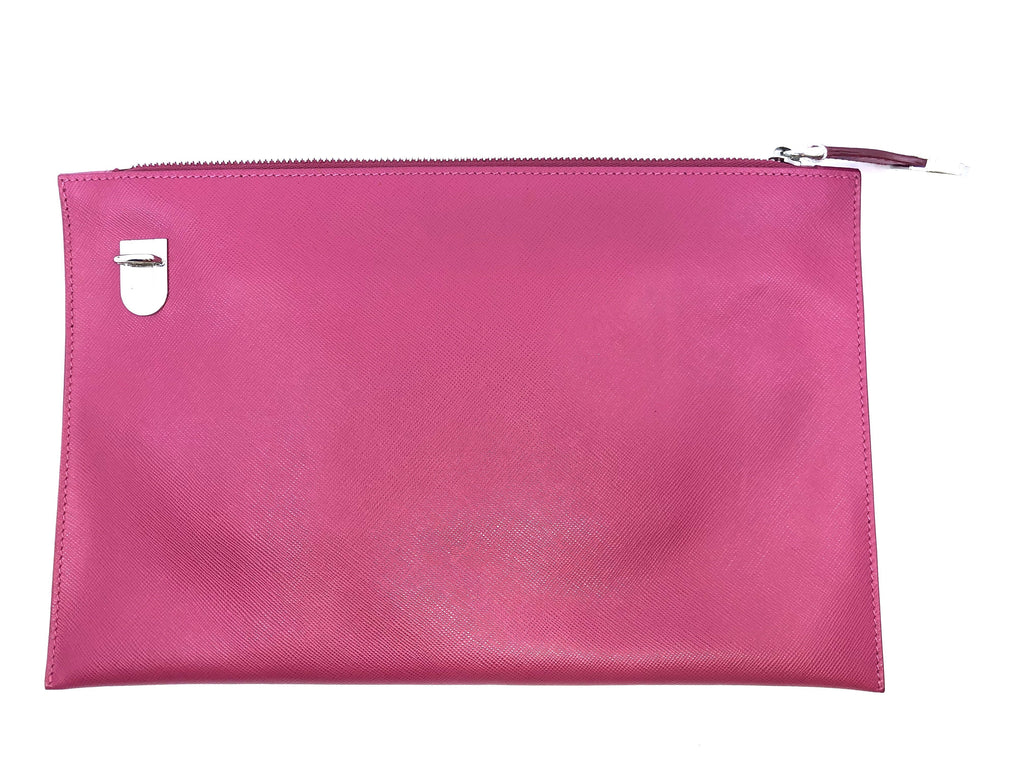 Prada Saffiano Lux Leather Fuxia Pink Zipper Clutch Pouch Wristlet Bag BP868T at_Queen_Bee_of_Beverly_Hills