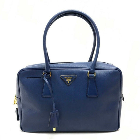 Prada Saffiano Lux Leather Top Handle Bauletto Bluette Blue Handbag BL0095 at_Queen_Bee_of_Beverly_Hills