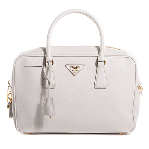 Prada Saffiano Lux Leather Top Handle Bauletto Talco White Handbag BL0095 at_Queen_Bee_of_Beverly_Hills