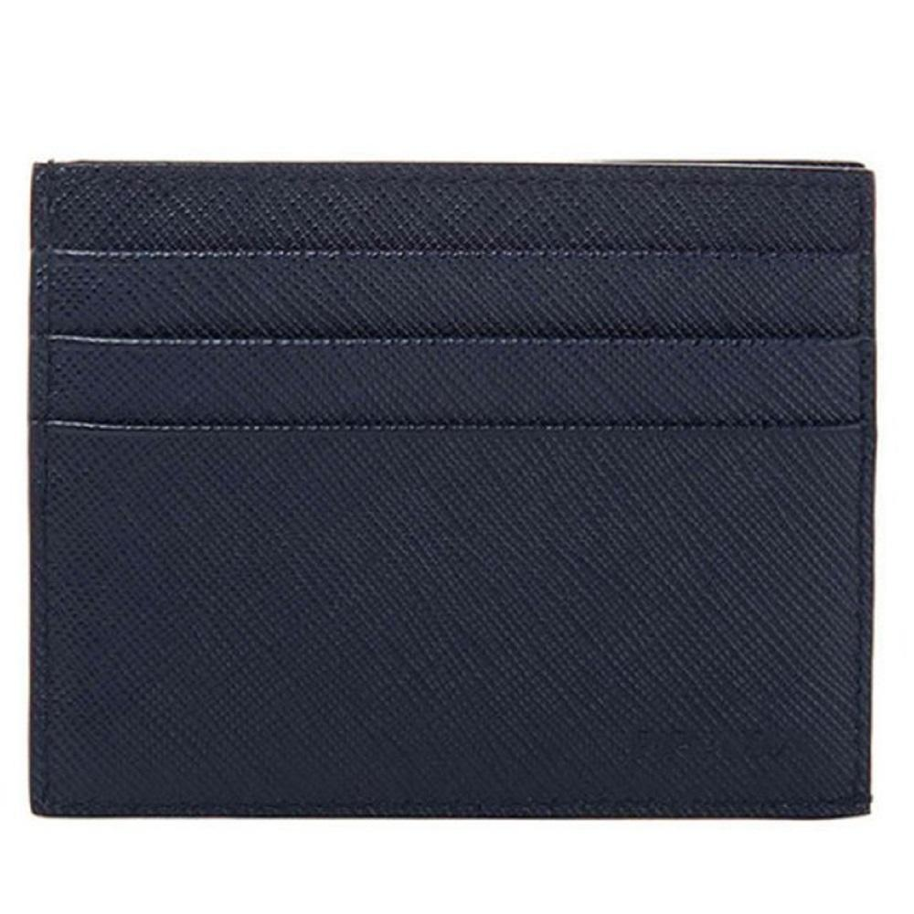 Prada Saffiano Mens Credit Card Wallet Baltico Blue Embossed Logo 2MC223 at_Queen_Bee_of_Beverly_Hills