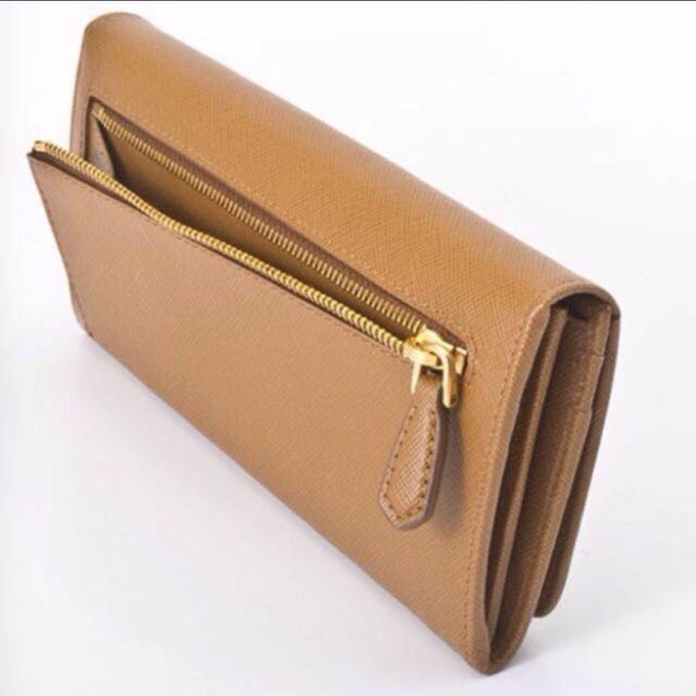 Prada Saffiano Metal Caramel Tan Leather Continental Wallet 1M1132 at_Queen_Bee_of_Beverly_Hills