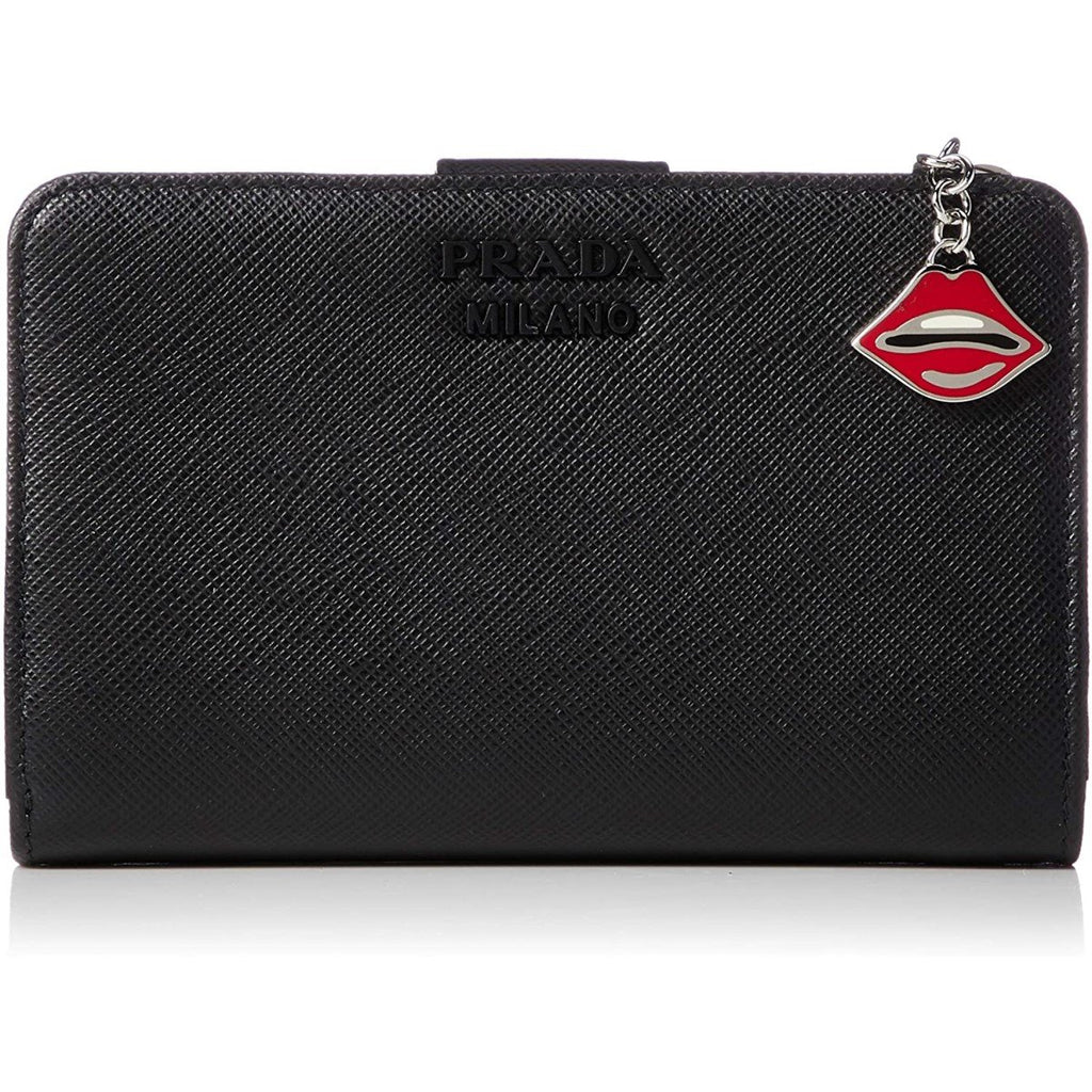 Prada Saffiano Smalto Leather Mare Nero Black Compact Wallet 1ML225 at_Queen_Bee_of_Beverly_Hills