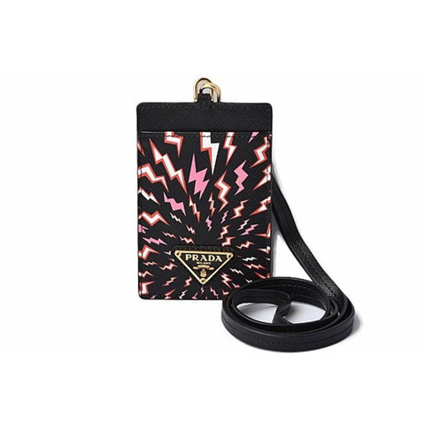 Prada Saffiano Thunde Lacca Black Card Case Badge Holder 1MC007 at_Queen_Bee_of_Beverly_Hills
