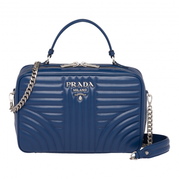 Prada Soft Calf Inpunture Bluette Bandoliera Quilted Leather Handbag 1BH119 at_Queen_Bee_of_Beverly_Hills