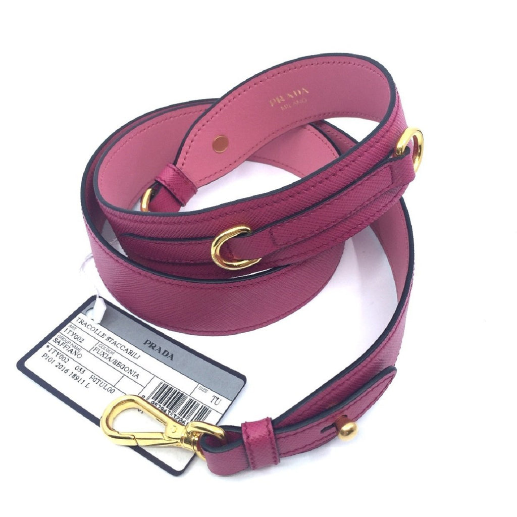 Prada Staccabili Fuxia Begonia Pink Saffiano Leather Shoulder Strap 1TY002 at_Queen_Bee_of_Beverly_Hills