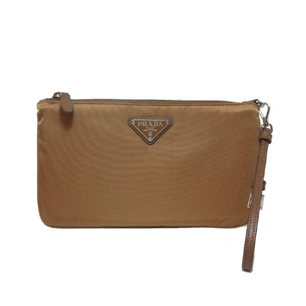 Prada Tan Tessuto Nylon Pouch Wristlet Clutch Silver Prada Logo 1NH545 at_Queen_Bee_of_Beverly_Hills