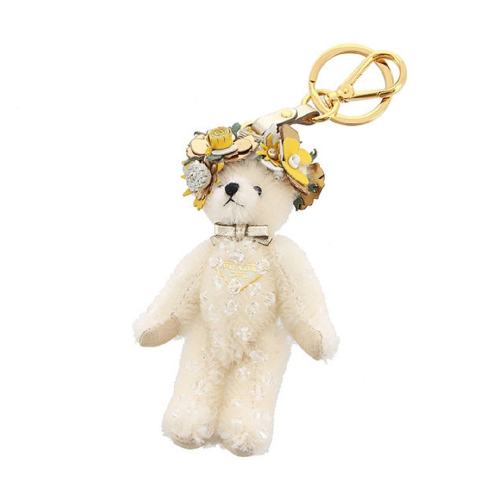 Prada Teddy Bear Keychain Enea White Jeweled Flower Headdress Bag Charm 1TO032 at_Queen_Bee_of_Beverly_Hills