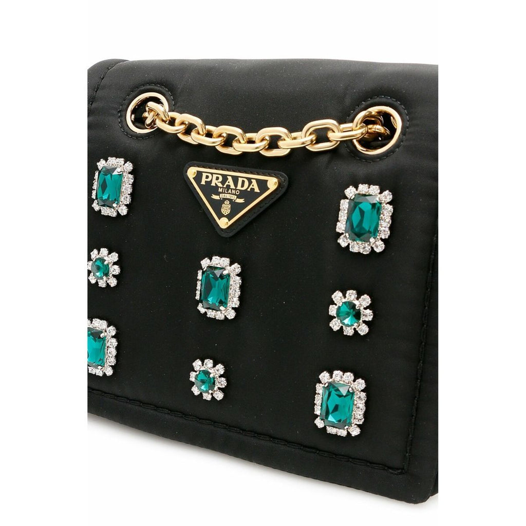 Prada Tessuto Chain Nylon Black Crossbody with Emerald Green Jewels 1BD197 at_Queen_Bee_of_Beverly_Hills