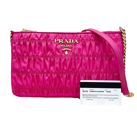 Prada Tessuto Gaufre Fuxia Pink Nylon Crossbody Gold Hardware 1BH152 at_Queen_Bee_of_Beverly_Hills