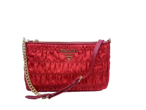 Prada Tessuto Gaufre Rosso Red Nylon Crossbody Gold Hardware 1BH152 at_Queen_Bee_of_Beverly_Hills