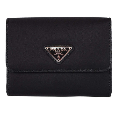 Prada Tessuto Leather Black Nylon Small Leather Wallet, Women's 1MH523 at_Queen_Bee_of_Beverly_Hills