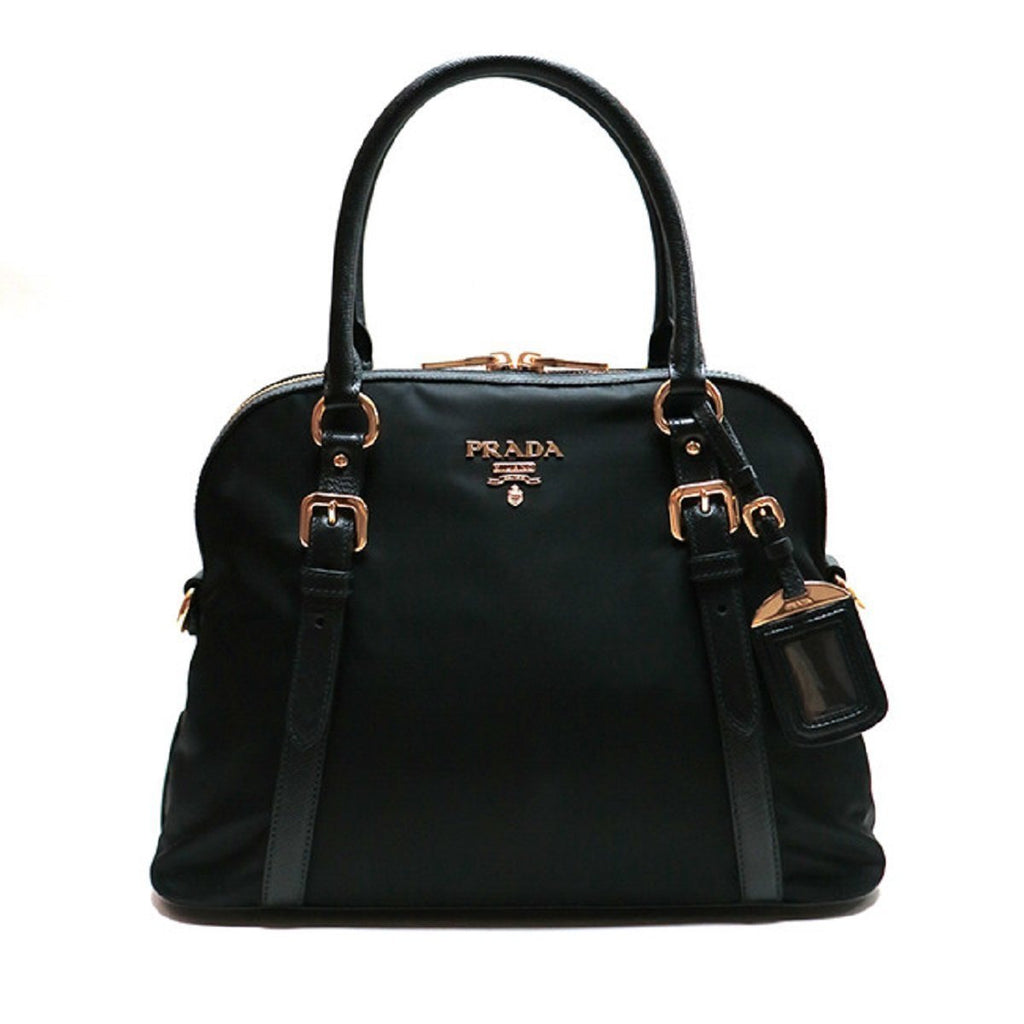 Prada Tessuto Nylon and Saffiano Leather Black Convertible Satchel Bag 1BB013 at_Queen_Bee_of_Beverly_Hills
