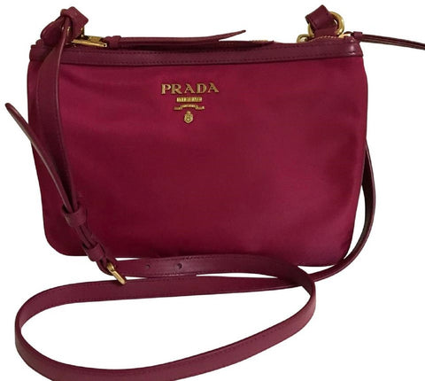 Prada Tessuto Nylon Calf Leather Ibisco Pink Double Zipper Crossbody Bag 1BH046 at_Queen_Bee_of_Beverly_Hills