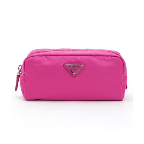 Prada Tessuto Nylon Fuxia Pink Cosmetic Case Necessaire Bag 1NA350 at_Queen_Bee_of_Beverly_Hills