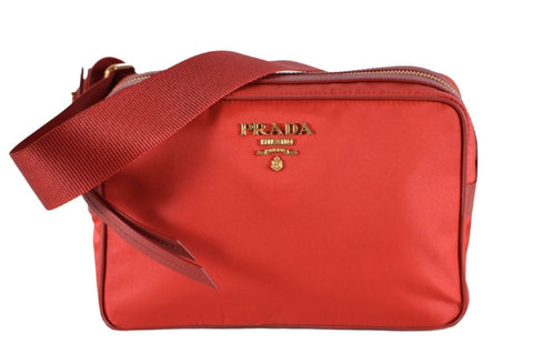 Prada Tessuto Nylon Leather Red Crossbody Bag 1BH089 at_Queen_Bee_of_Beverly_Hills