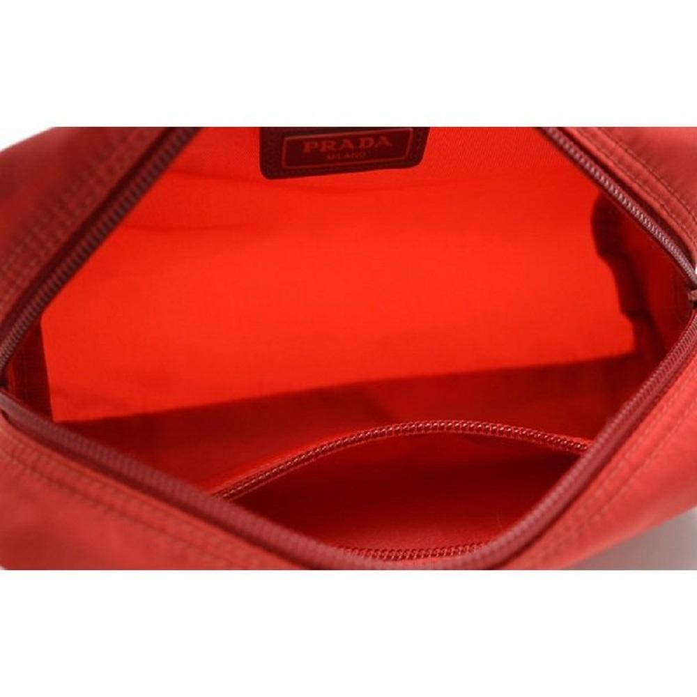 Prada Tessuto Nylon Rosso Red Cosmetic Case Necessaire Bag 1NA350 at_Queen_Bee_of_Beverly_Hills