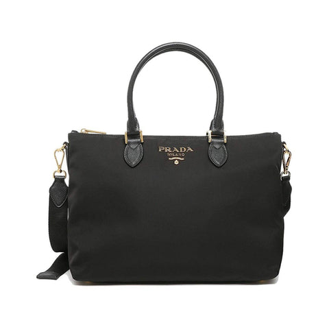 Prada Tessuto Nylon Saffiano Leather Trim Black Medium Satchel 1BA278 at_Queen_Bee_of_Beverly_Hills