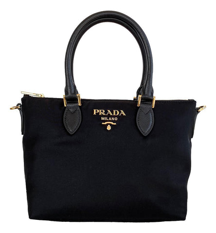 Prada Tessuto Nylon Saffiano Leather Trim Black Small Satchel 1BA275 at_Queen_Bee_of_Beverly_Hills