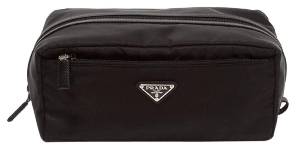 Prada Tessuto Nylon Saffiano Leather Trim Men's Necessaire Toiletry Travel Bag 2NA029 at_Queen_Bee_of_Beverly_Hills