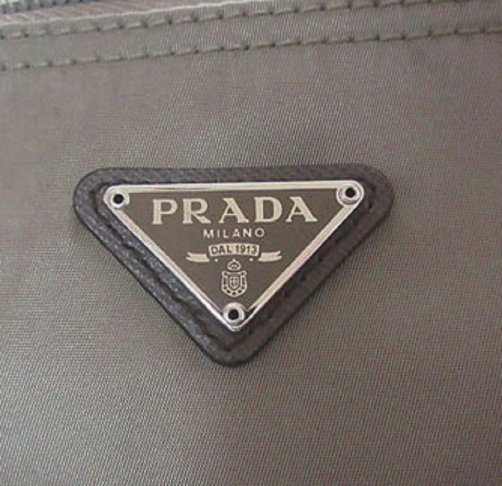 Prada Tessuto Nylon Triangle Logo Large Toiletry Case Argilla Gray 1NA012 at_Queen_Bee_of_Beverly_Hills