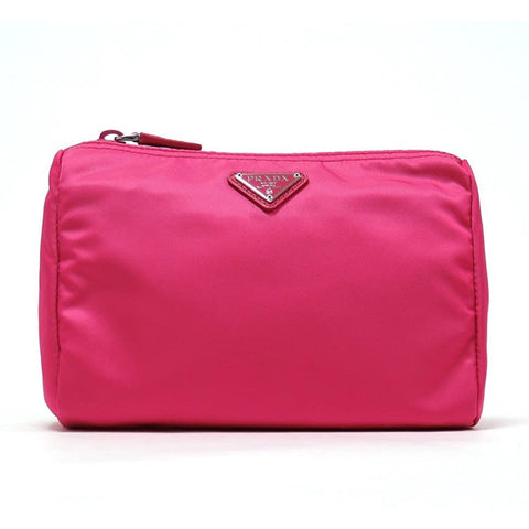 Prada Tessuto Nylon Triangle Logo Large Toiletry Case Fuxia Pink 1NA011 at_Queen_Bee_of_Beverly_Hills