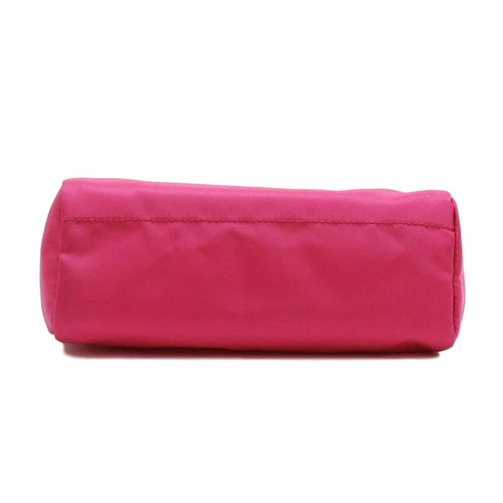 Prada Tessuto Nylon Triangle Logo Small Toiletry Case Fuxia Pink 1NA011 at_Queen_Bee_of_Beverly_Hills
