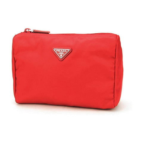 Prada Tessuto Nylon Triangle Logo Small Toiletry Case Rosso Red 1NA011 at_Queen_Bee_of_Beverly_Hills