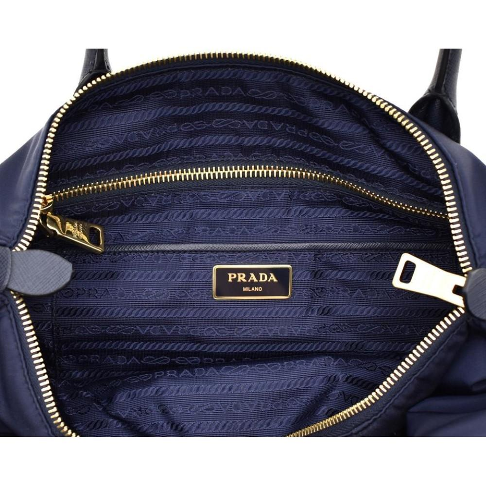 Prada Tessuto Saffiano Baltico Blue Leather Top Handle Bag 1BA106 at_Queen_Bee_of_Beverly_Hills