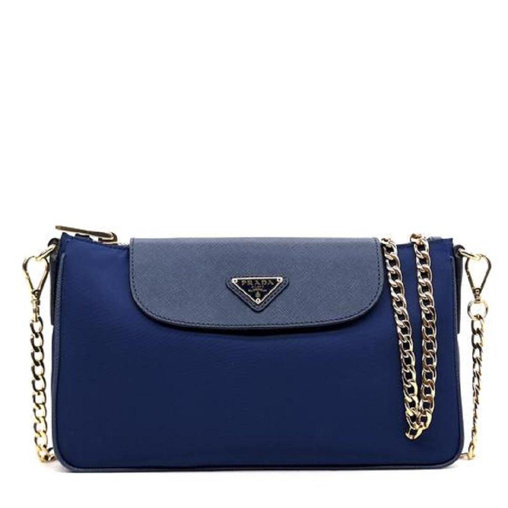 Prada Tessuto Saffiano Bluette Blue Bandoliera Crossbody Gold Hardware 1BH085 at_Queen_Bee_of_Beverly_Hills