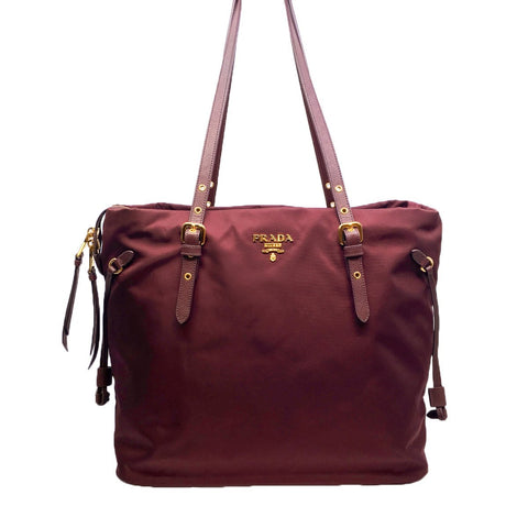 Prada Tessuto Saffiano Burgundy Red Nylon Shopping Tote Bag 1BG997 at_Queen_Bee_of_Beverly_Hills