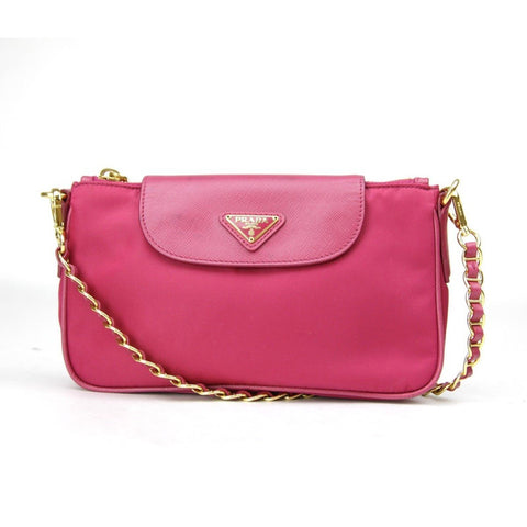 Prada Tessuto Saffiano Fuxia Pink Crossbody Gold Hardware 1BH085 at_Queen_Bee_of_Beverly_Hills