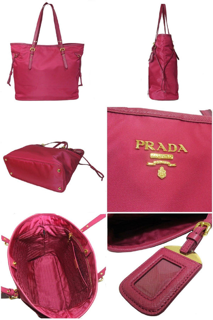 Prada Tessuto Saffiano Ibisco Pink Nylon Leather Shopping Tote Bag 1BG997 at_Queen_Bee_of_Beverly_Hills