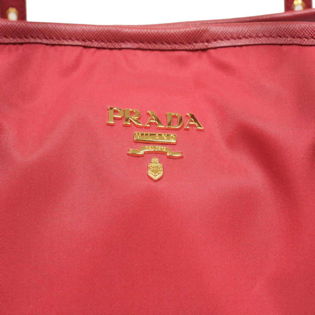 Prada Tessuto Saffiano Pink Nylon Leather Shopping Tote Shoulder Bag BR4997 at_Queen_Bee_of_Beverly_Hills