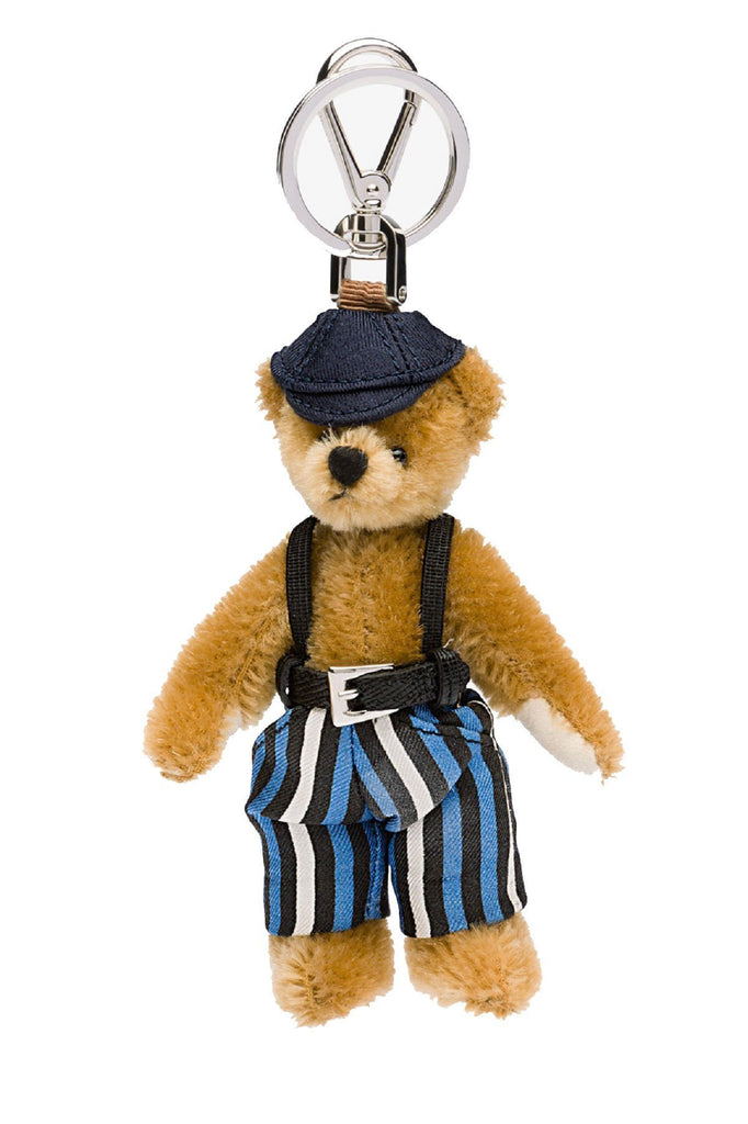 Prada Trick Brown Striped Overall Tom Teddy Bear Key Ring 1ARI19 at_Queen_Bee_of_Beverly_Hills