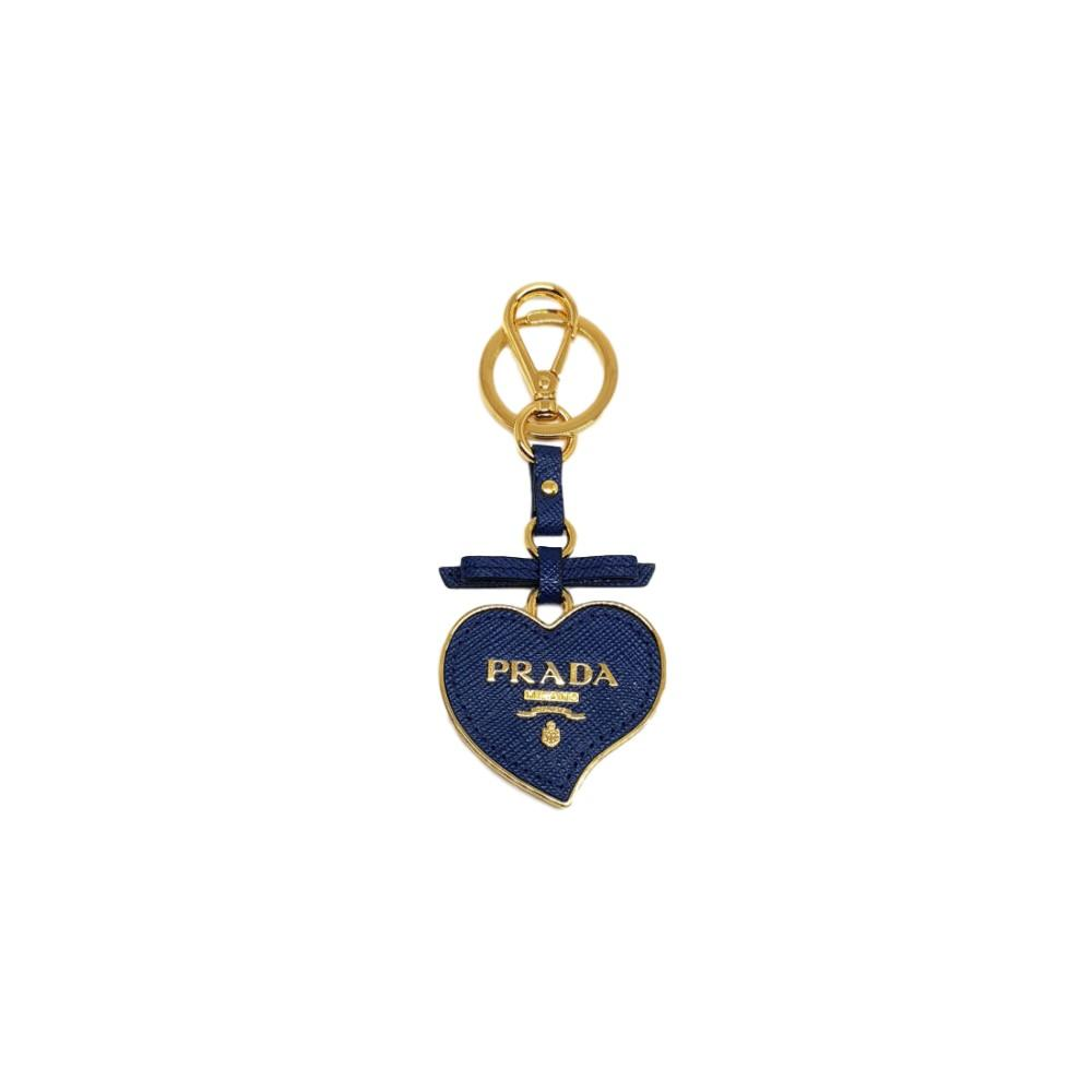 Prada Trick in Pelle Bluette Blue Saffiano Toys Heart Logo Keychain Leather Bow 1TL126 at_Queen_Bee_of_Beverly_Hills