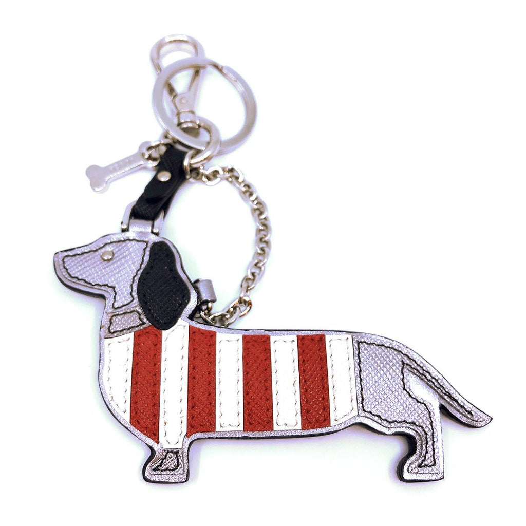 Prada Trick in Pelle Cromo Metallic Silver Saffiano Leather Dog Dachshund Keychain Keyring 2TL328 at_Queen_Bee_of_Beverly_Hills