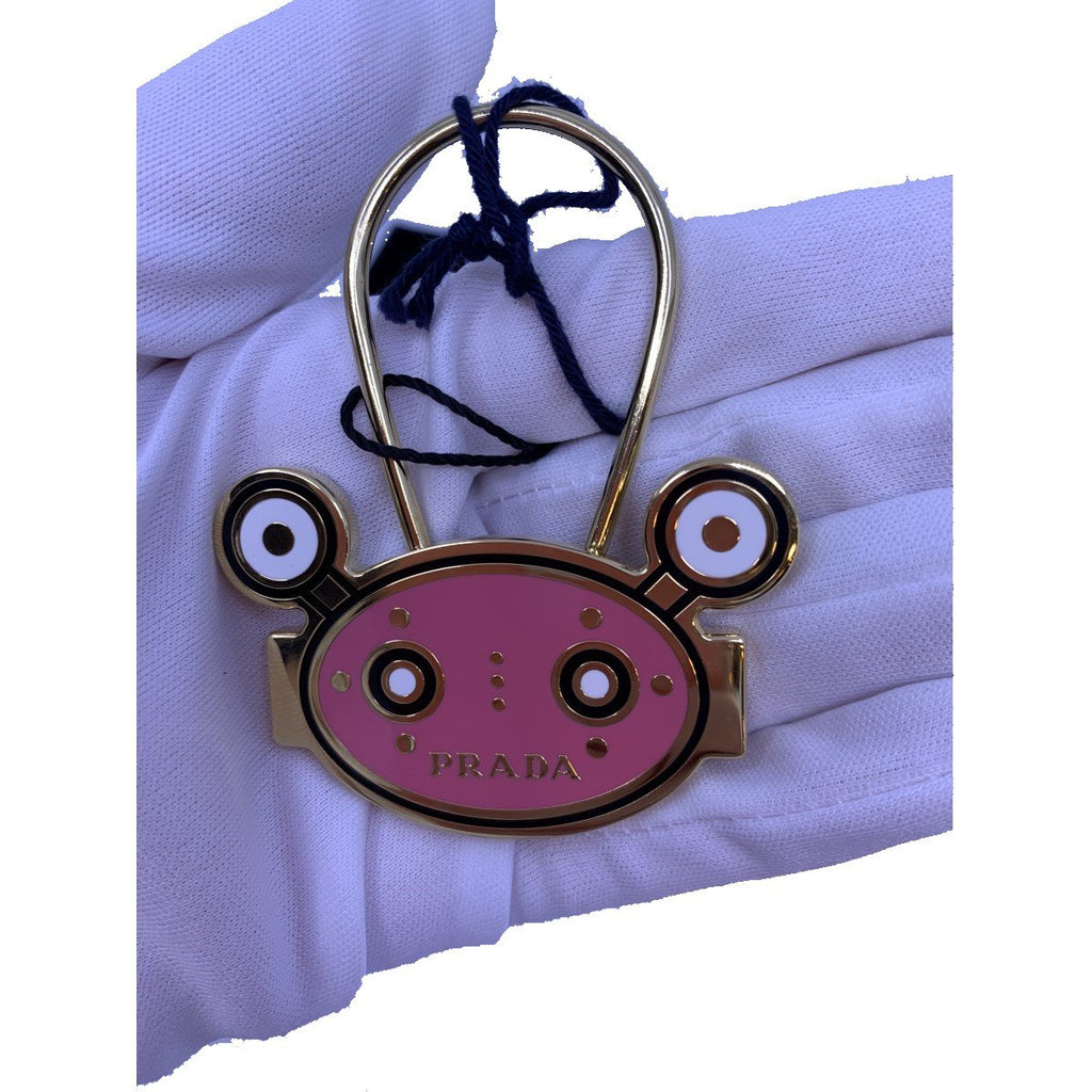 Prada Trick Keychain Pink Robot Head Gold Hardware 1PS038 at_Queen_Bee_of_Beverly_Hills