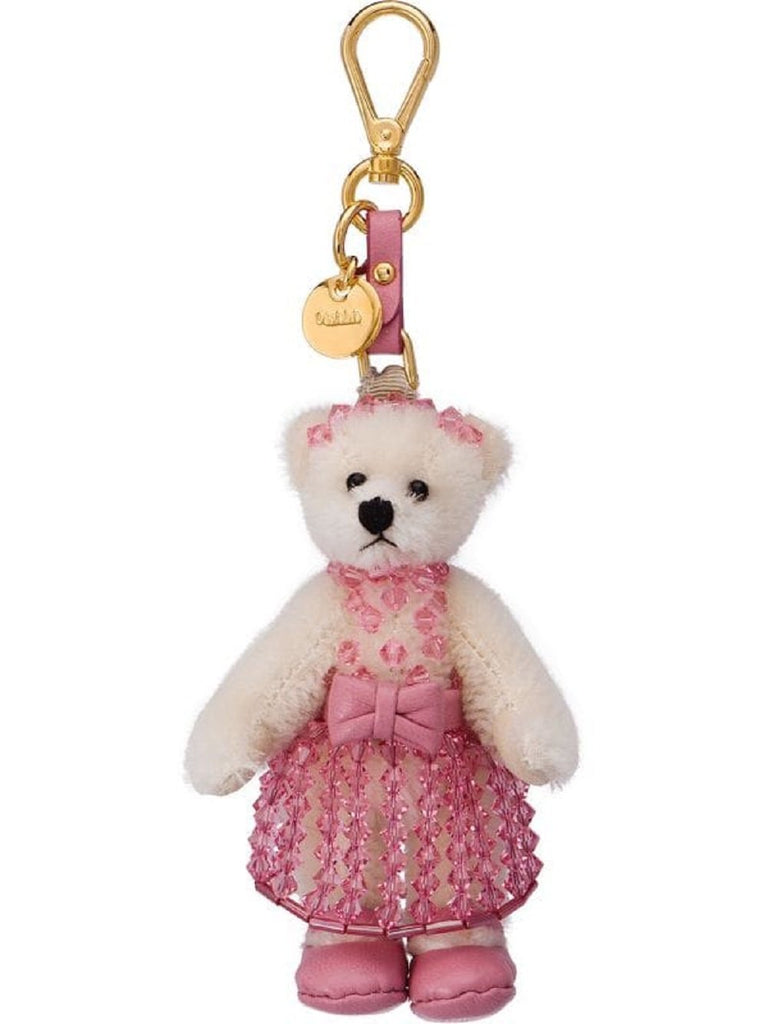 Prada Trick Orsetto Bianco Teddy Bear Pink Crystal Dress Keychain Charm 1TO036 at_Queen_Bee_of_Beverly_Hills