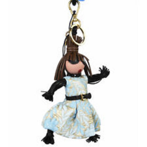 Prada Trick Pelle Azzurro Blue Dress Jasmine Doll Keyring Key Charm 1TL171 at_Queen_Bee_of_Beverly_Hills