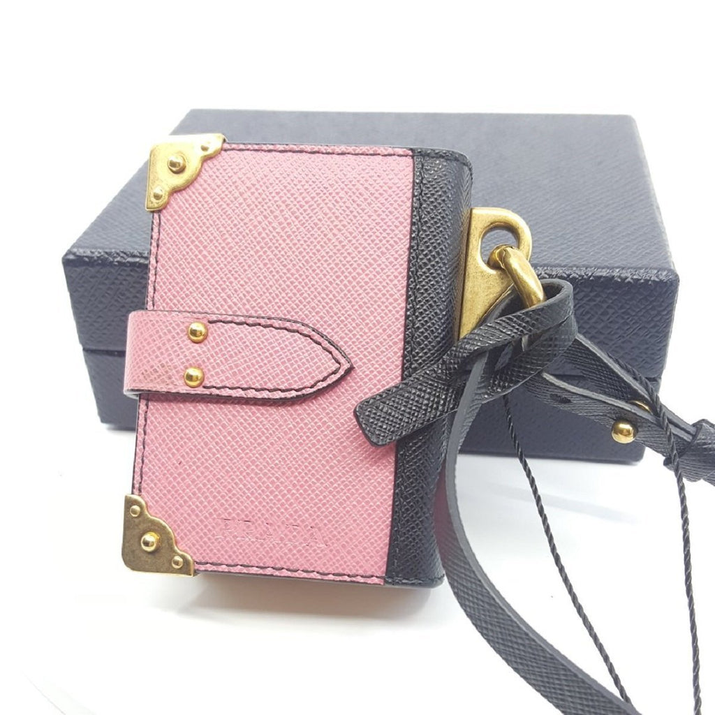 Prada Trick Pelle Begonia and Nero Saffiano Leather Keychain Journal 1TL101 at_Queen_Bee_of_Beverly_Hills