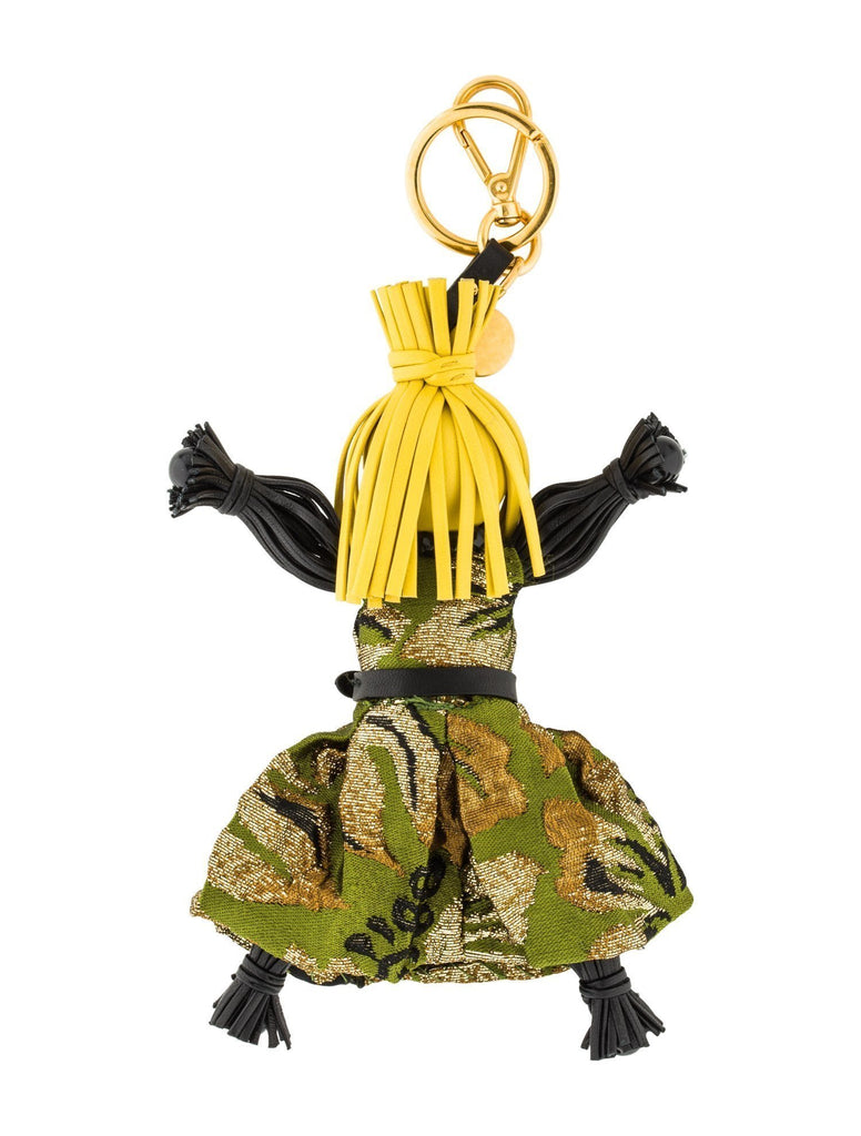 Prada Trick Pelle Felce Green Dress Jasmine Doll Keyring Key Charm 1TL171 at_Queen_Bee_of_Beverly_Hills