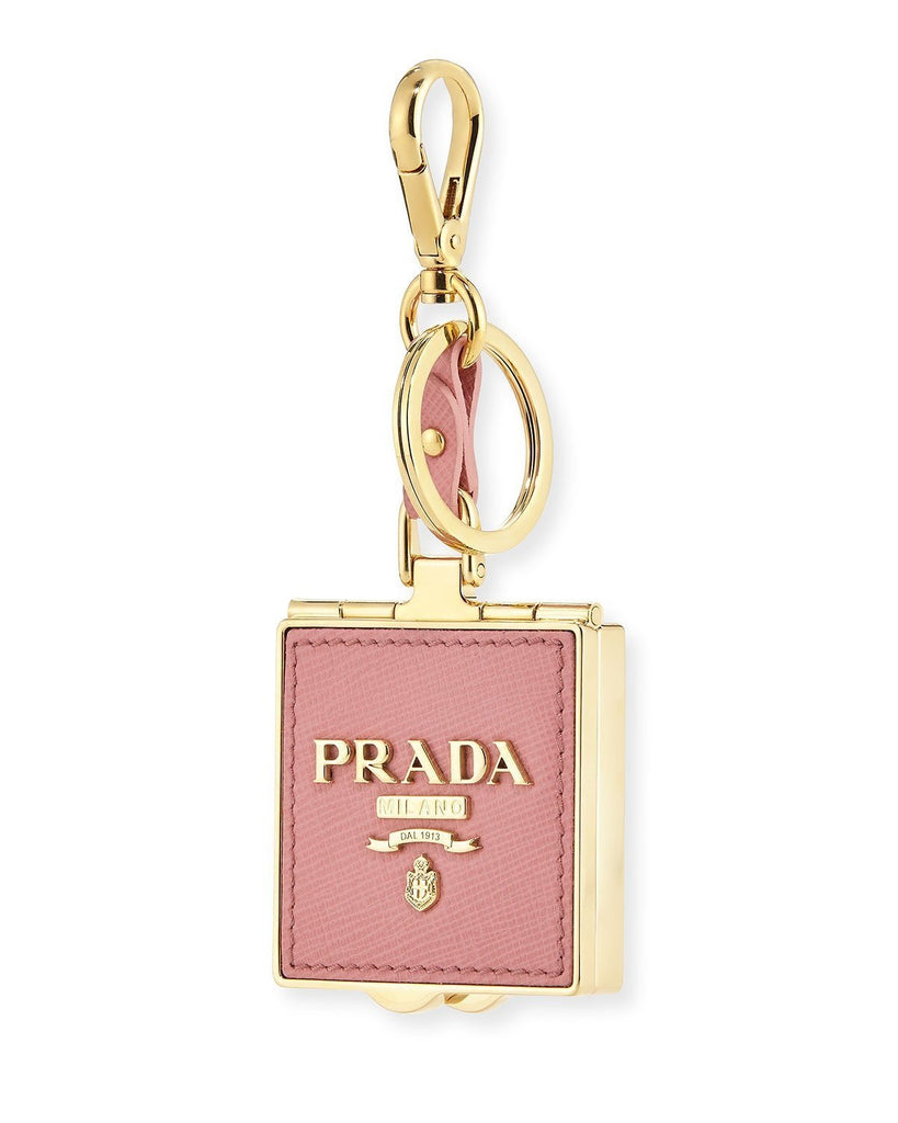 Prada Trick Pelle Pink Petalo Saffiano Box Pendant Key Chain 1TL278 at_Queen_Bee_of_Beverly_Hills